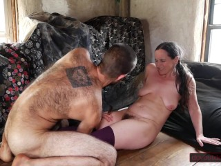Duo Wrestling Leads to meatpipe deep-throating, furry vag dumping, and immense explosion on MILF's Face and Chest