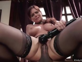 Hefty breasts cougar threesome domination & submission boned