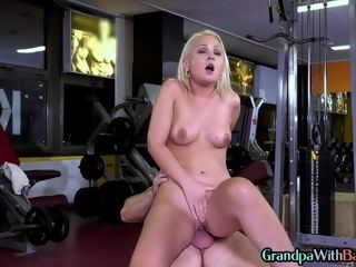 Old plowing his super-fucking-hot private trainer at the gym as part of cardio