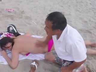 Senior stud chinese rubdown Topless damsel Public Beach