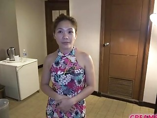 Chinese cougar takes a throbbing jizz-shotgun in her unshaved cooch