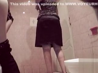 Euro femmes caught by hidden web cam in the public rest room