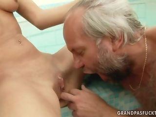 Elderly nail and youthful bony black-haired