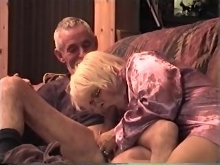 Grandmother inhales The grandfather