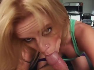 Blue- saw platinum-blonde with a pierced tongue, Vanessa Vixon loves to get banged in the donk