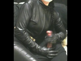 Smoking wifey in leather mittens and catsuit nailing hj cum shot