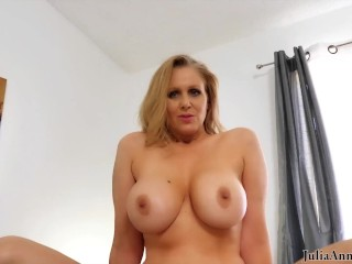 'Experienced large titted Step mother Julia Ann Gets All The spunk Out Of That Cock'