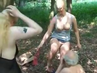 Grandfather WITH two fucksluts IN THE forest