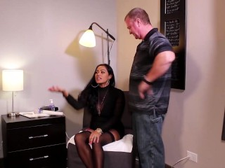 'Hot Oriental bootylicious milf Maxine X stretches Her gams For hefty Pulsating manhood!'