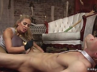 Milf female domination torments hard-on to dude