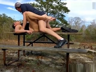 Cougar dicked down and creampied at a public park