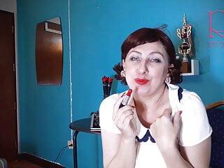 Crimson lip liner smooching teasing by Regina Noir. Retro vintage