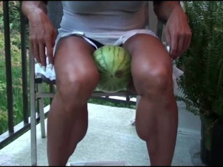 Bulky Thighs kick A Watermelon Then Armwrestle nerd