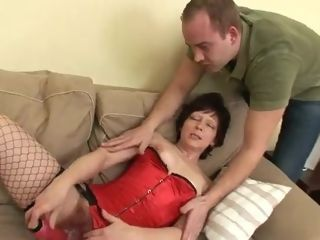 Insatiable grannie Gets Her unshaved cunny romp