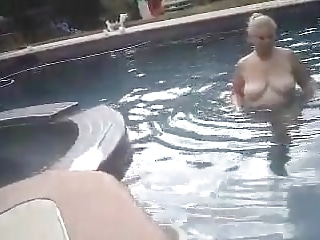 Plumper Beth ambling bare and to the pool