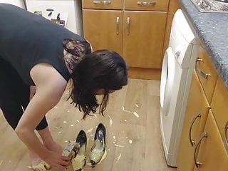 Bedraggled custard on every side heels bloke