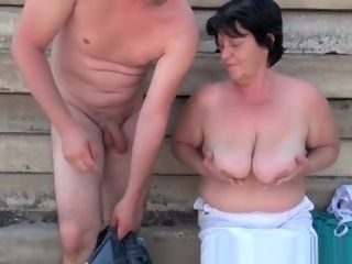 Gross granny with 1 inch nips penetrated outdoors