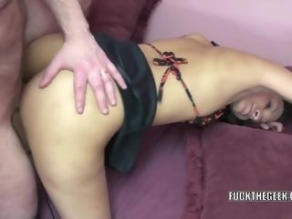 Smallish Indian cougar Naomi Shah in ebony footwear and a skirt while she gets plowed