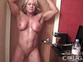 Mature lady Bodybuilder Poses and milks
