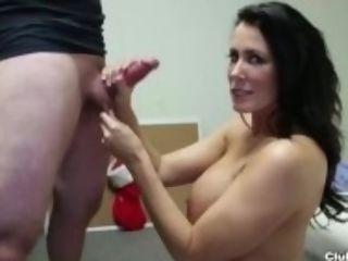 """""""Hot cougar hand-job at the office"""""""