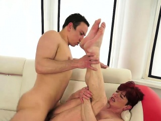 Grannie With ginger-haired loves rock-hard beefstick in Her twat