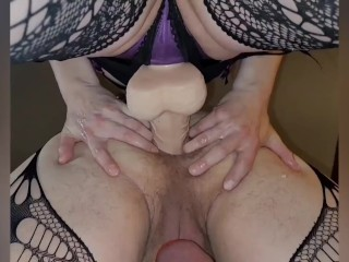 'Mistress pegging me deep in my manpussy cordon cord on giant fuck stick femdom'