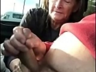 Granny blowjob with passenger car - cum