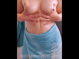 SexyGermanGirl Candy lubes her sweet all-natural large knockers
