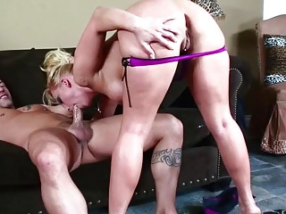 Super-hot cougar takes the gigantic man rod to splatter and takes his jizm