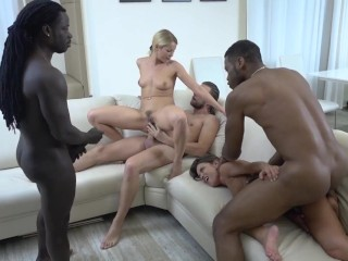 Fuck-fest I Give My wifey And Her buddy To Be pulverize By ?�?2 big black cock For double penetration And dual cooter pulverizeing