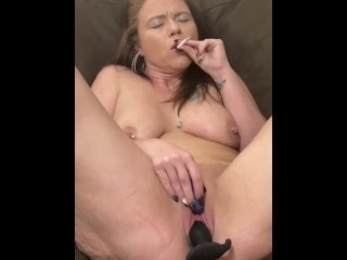 AlisonAuraAllen cougar finishes off finger-banging and toy drilling pierced wet butt cooch and butt while smoking