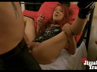 Smoking Leather Fetish - red-haired Gets drilled & jism wettened