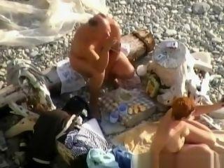 Aged naturist stud wifey deep throat at beach