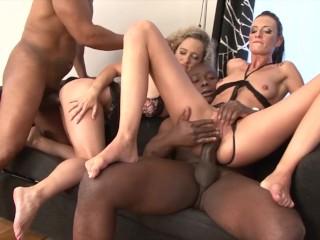 Mature moms enjoy ass-fuck orgy and to deepthroat dark-hued boners