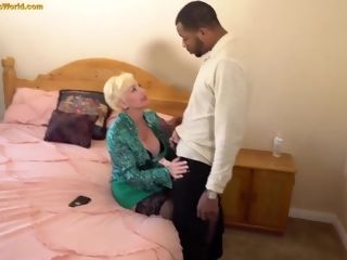 Grandma double penetration multiracial threesome