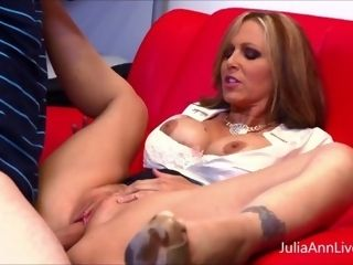 'Busty cougar professor Julia Ann Blows And ravages Her schoolgirl Until He blows a load!'