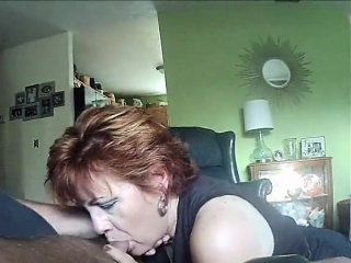 First-timer ginger-haired girlfriend inhaling a thick fuckpole
