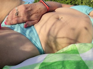 Risky Outdoors Sunbathing With vibro - Trying Not To writhe - Mature brit unexperienced cougar