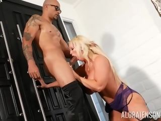 Bootylicious, blondie wife, Alura Jenson is providing fellatios to men in swap for a fine pound