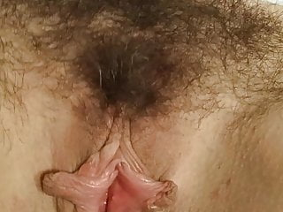 Exhibition fur covered vulva mature