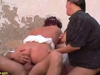 Threesome ass fucking romp at the family farm
