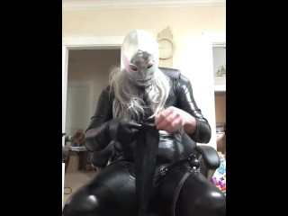 Ebony vinyl suit with fresh spandex mask gasping & slobbering, cuff to stool, unzip wood and petting