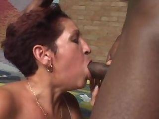 Mexican Mature Takes A humungous ebony jizz-shotgun In The culo