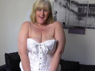Dirty Mature meaty melon Bride can't wait for the wedding night bang and thumbs herself to ejaculation