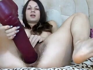 Cam woman onanism solo furry twat speculum thick toys