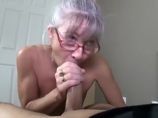 Mature with little hooters receives facial cumshot