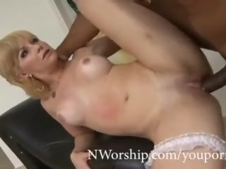 Trampy blond cougar gargling and ravaging rectal with big black cock