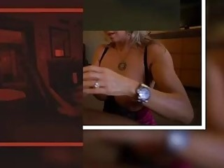 Whorey, mature platinum-blonde is providing a boob fucking to a dark-hued boy and having fuck-a-thon with him