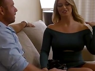 Kayley Gunner is wearing only ebony stockings while having romp with one of her married neighbors