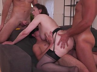 Grandmother Allison gets all her fuckholes packed by 3 boys